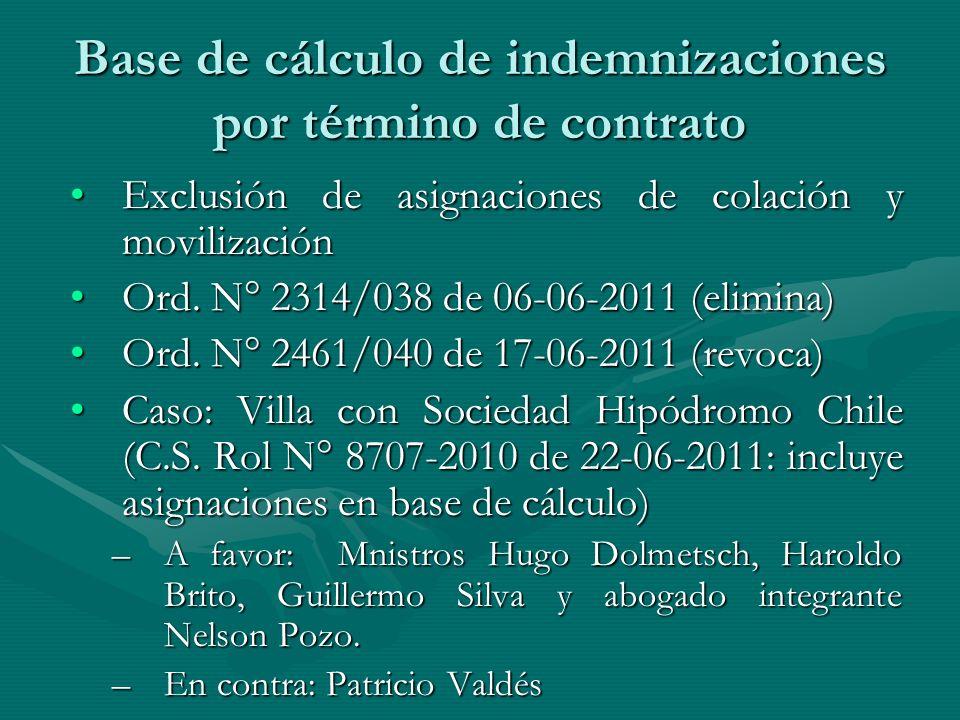 Base de cálculo de indemnizaciones por término de contrato