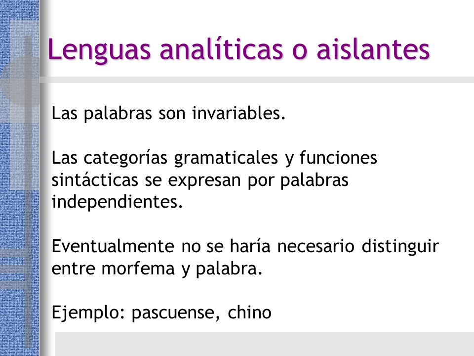 Lenguas analíticas o aislantes