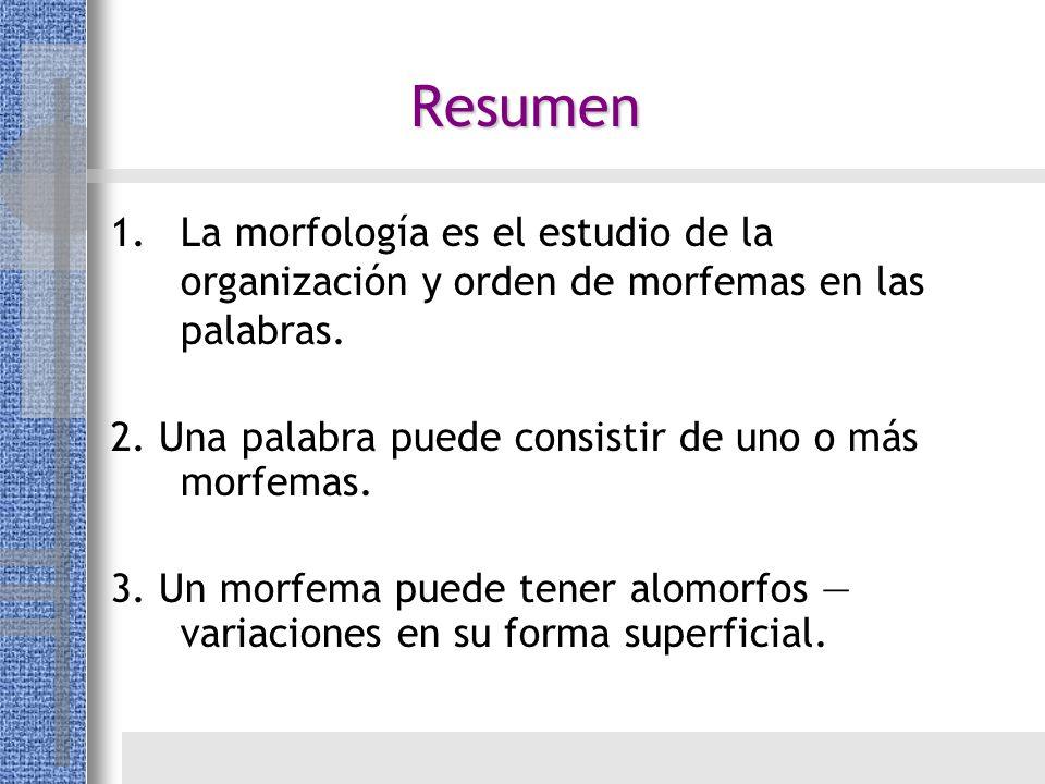 Resumen La morfología es el estudio de la organización y orden de morfemas en las palabras. 2. Una palabra puede consistir de uno o más morfemas.