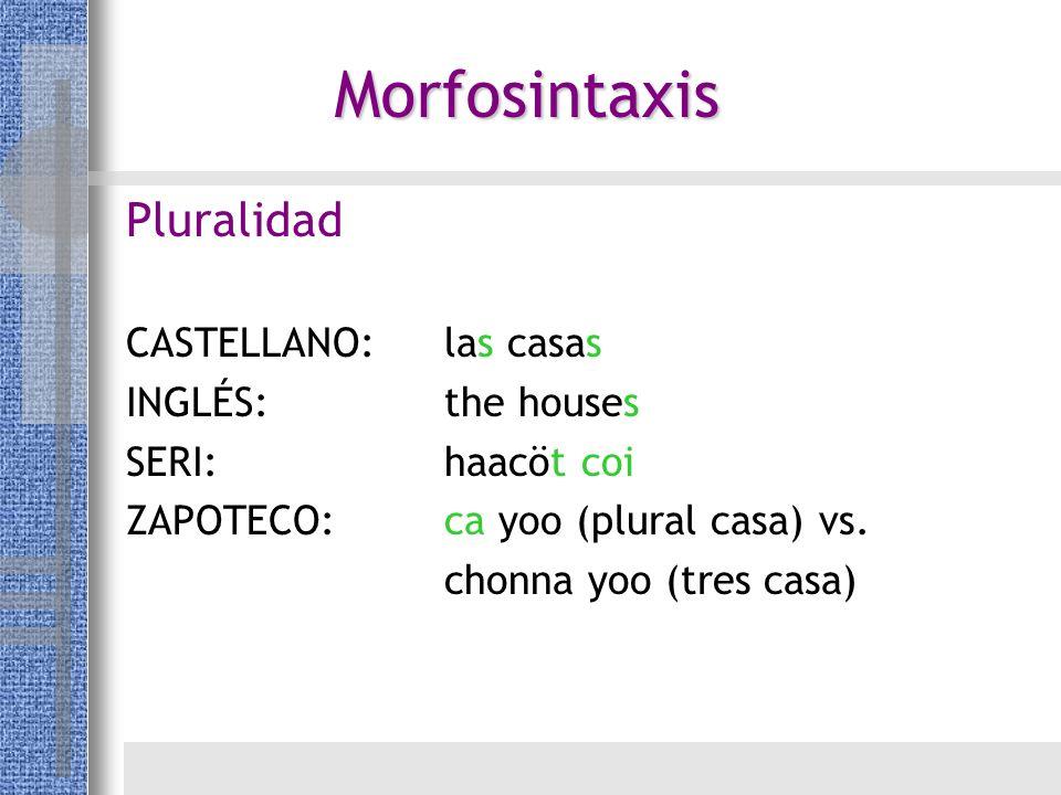 Morfosintaxis Pluralidad CASTELLANO: las casas INGLÉS: the houses