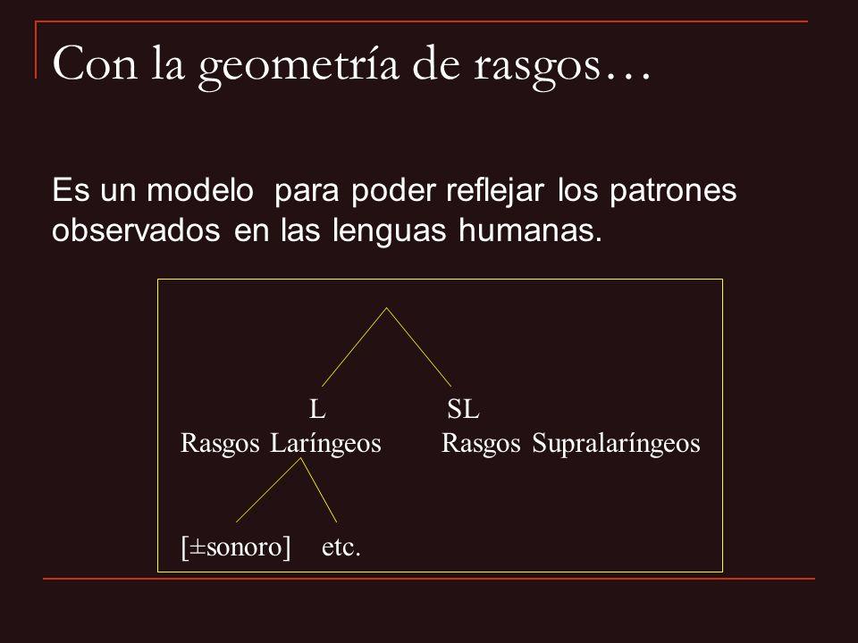 Con la geometría de rasgos…