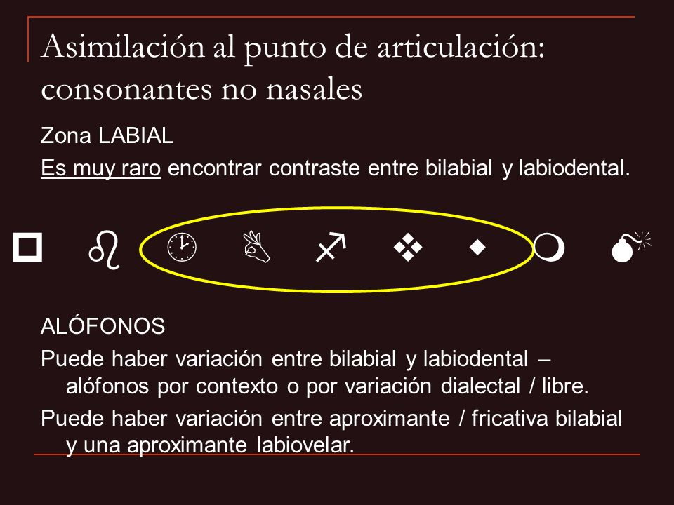 Asimilación al punto de articulación: consonantes no nasales