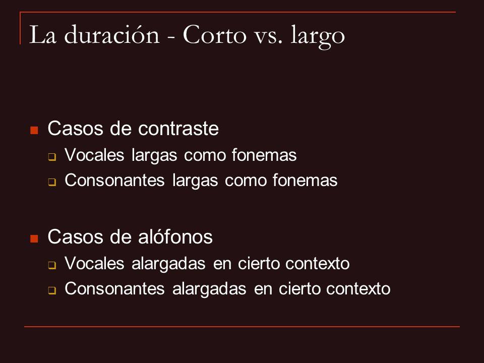 La duración - Corto vs. largo