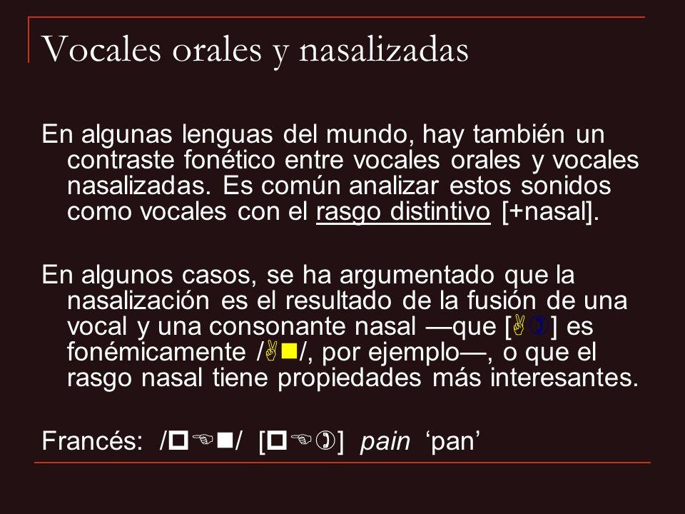 Vocales orales y nasalizadas