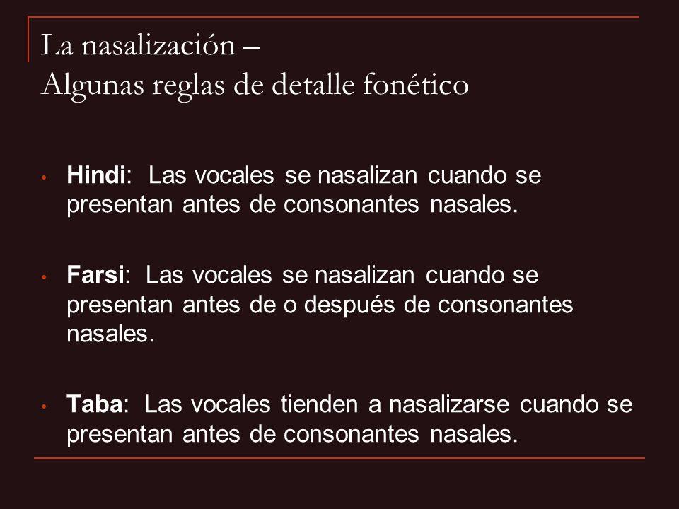La nasalización – Algunas reglas de detalle fonético
