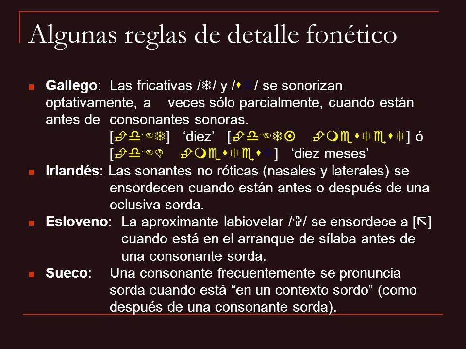 Algunas reglas de detalle fonético
