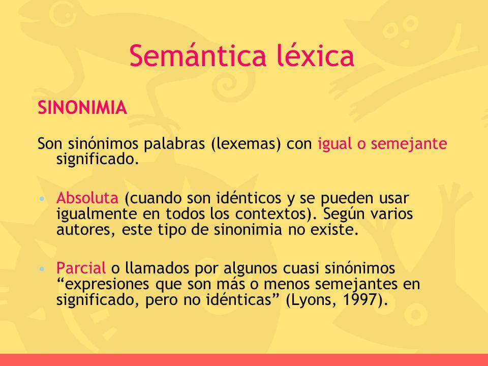 Semántica léxica SINONIMIA