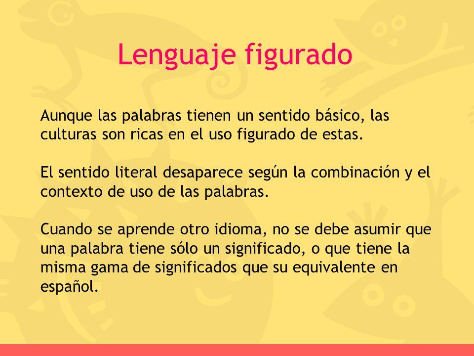 Lenguaje figurado Aunque las palabras tienen un sentido básico, las culturas son ricas en el uso figurado de estas.