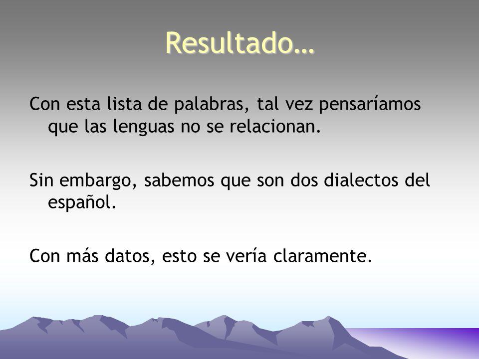 Resultado…Con esta lista de palabras, tal vez pensaríamos que las lenguas no se relacionan. Sin embargo, sabemos que son dos dialectos del español.