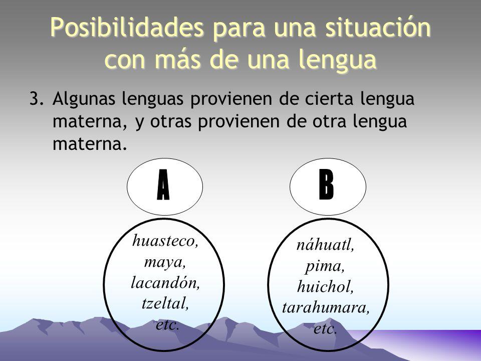 Posibilidades para una situación con más de una lengua