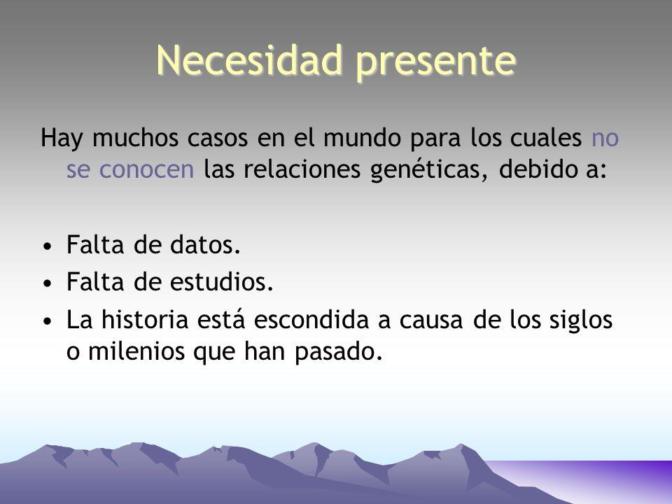 Necesidad presente Hay muchos casos en el mundo para los cuales no se conocen las relaciones genéticas, debido a: