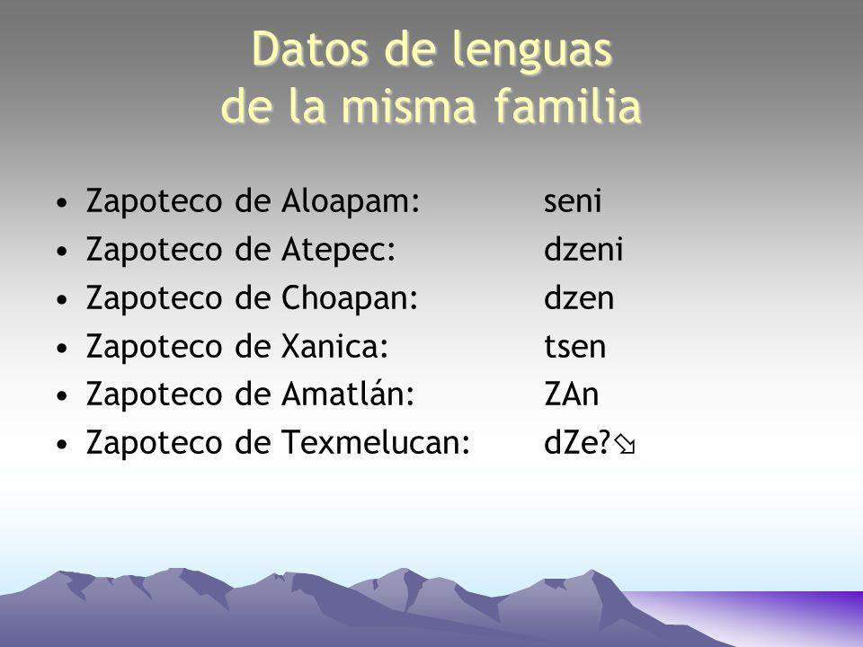 Datos de lenguas de la misma familia