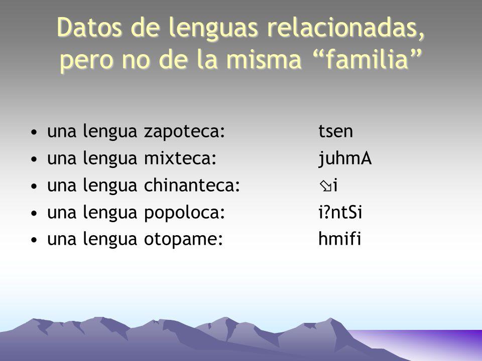 Datos de lenguas relacionadas, pero no de la misma familia