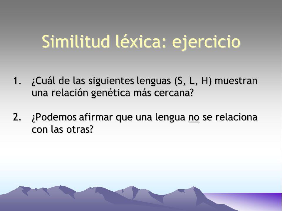 Similitud léxica: ejercicio