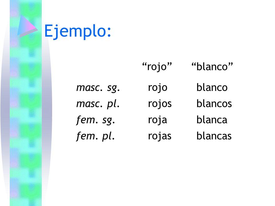 Ejemplo: rojo blanco masc. sg. rojo blanco masc. pl. rojos blancos