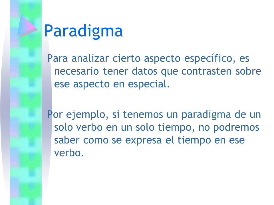 Paradigma Para analizar cierto aspecto específico, es necesario tener datos que contrasten sobre ese aspecto en especial.