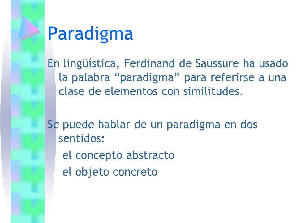 Paradigma En lingüística, Ferdinand de Saussure ha usado la palabra paradigma para referirse a una clase de elementos con similitudes.