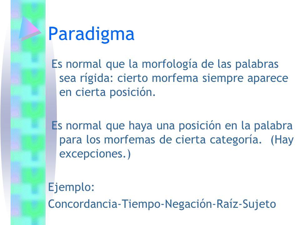 Paradigma Es normal que la morfología de las palabras sea rígida: cierto morfema siempre aparece en cierta posición.