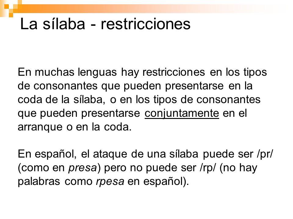 La sílaba - restricciones