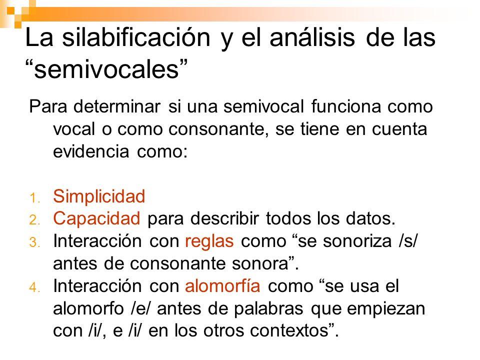 La silabificación y el análisis de las semivocales