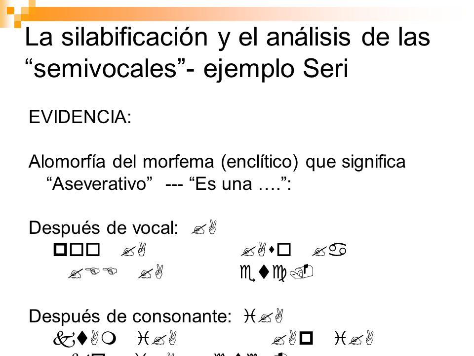 La silabificación y el análisis de las semivocales - ejemplo Seri