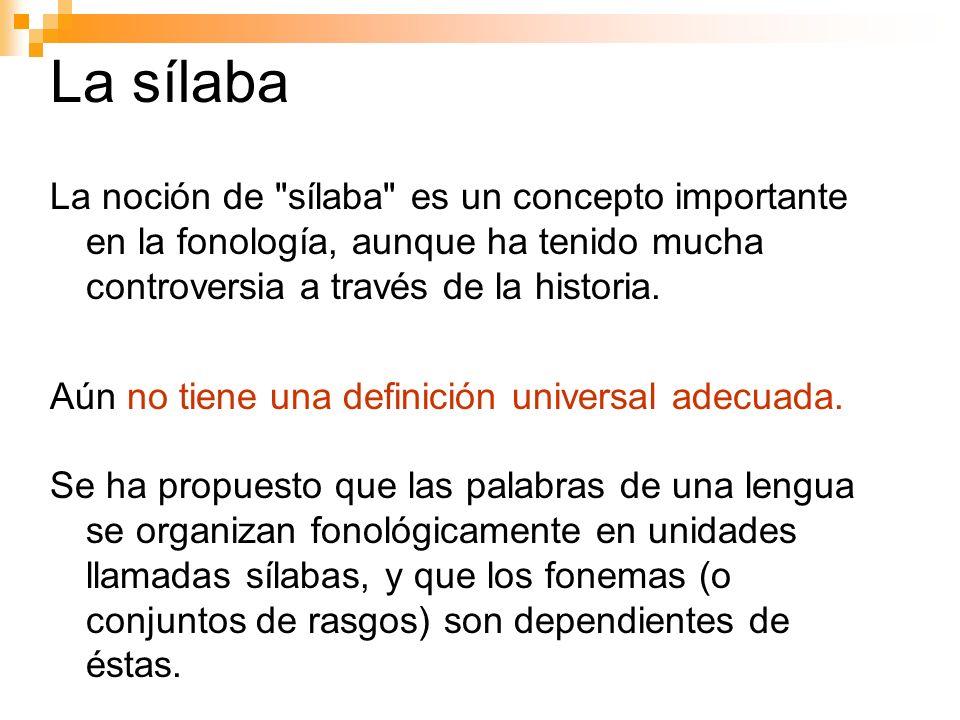 La sílabaLa noción de sílaba es un concepto importante en la fonología, aunque ha tenido mucha controversia a través de la historia.