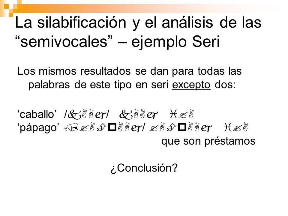 La silabificación y el análisis de las semivocales – ejemplo Seri