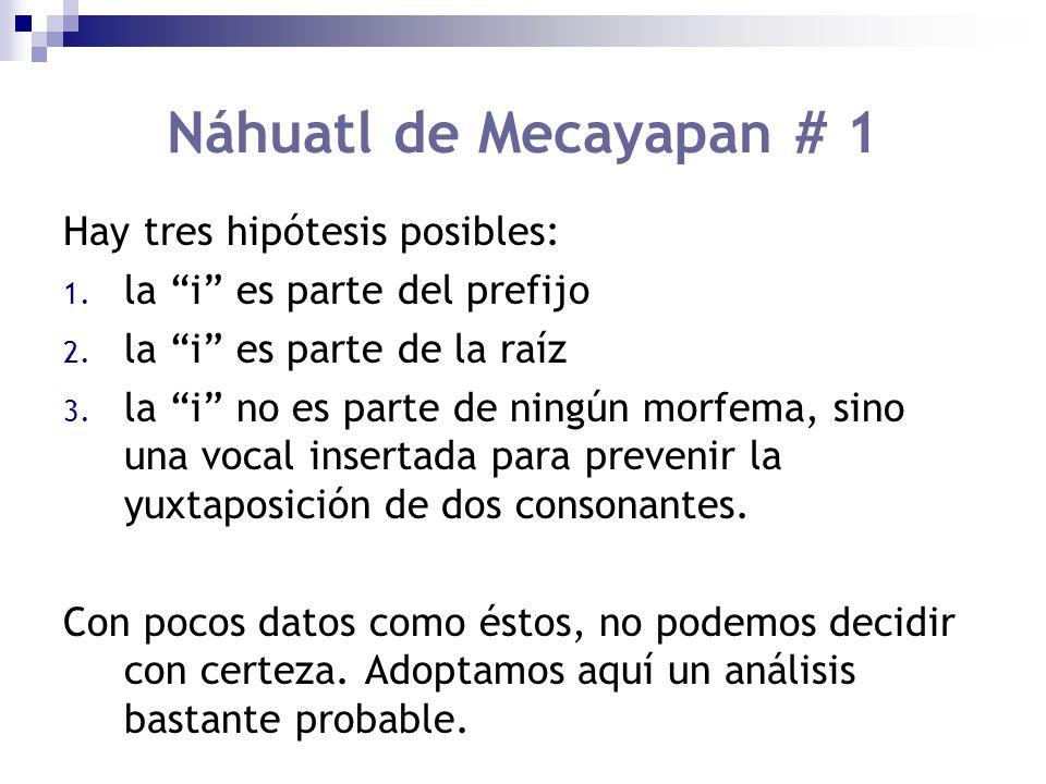 Náhuatl de Mecayapan # 1 Hay tres hipótesis posibles: