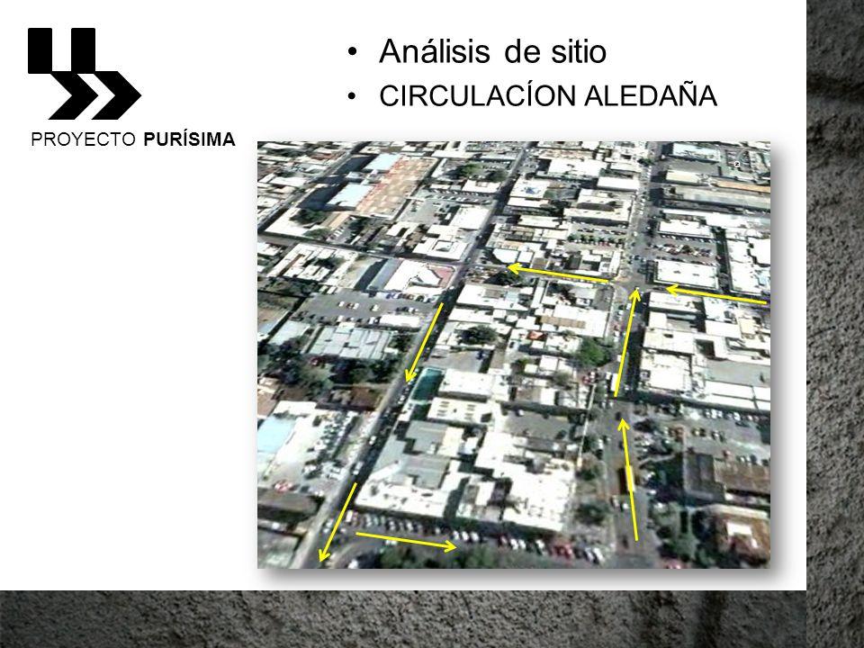 Análisis de sitio CIRCULACÍON ALEDAÑA PROYECTO PURÍSIMA