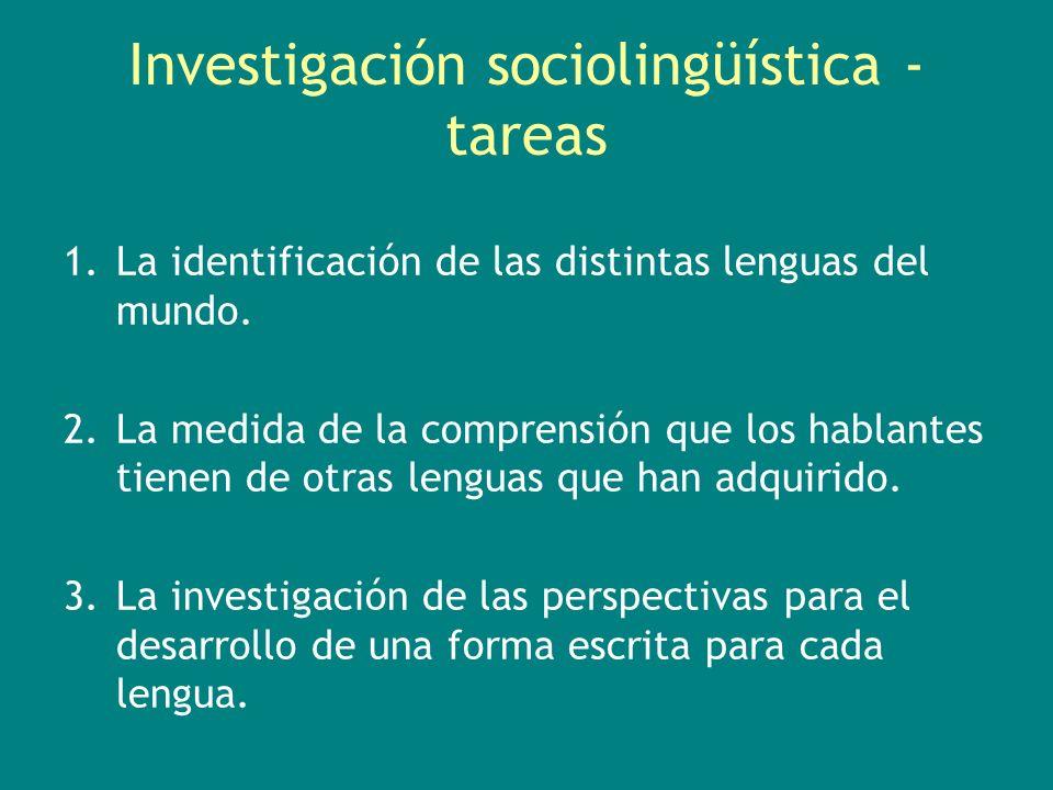 Investigación sociolingüística - tareas