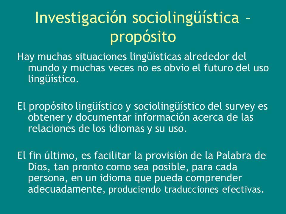 Investigación sociolingüística – propósito