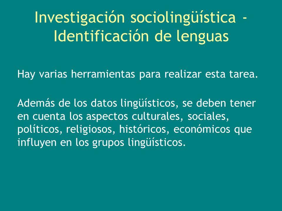 Investigación sociolingüística - Identificación de lenguas