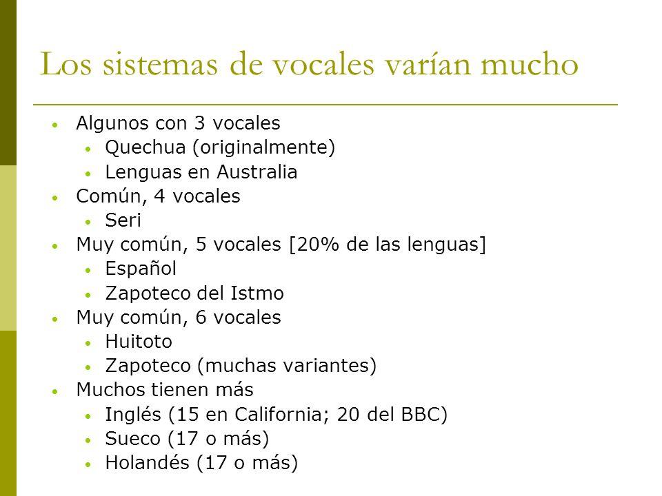 Los sistemas de vocales varían mucho