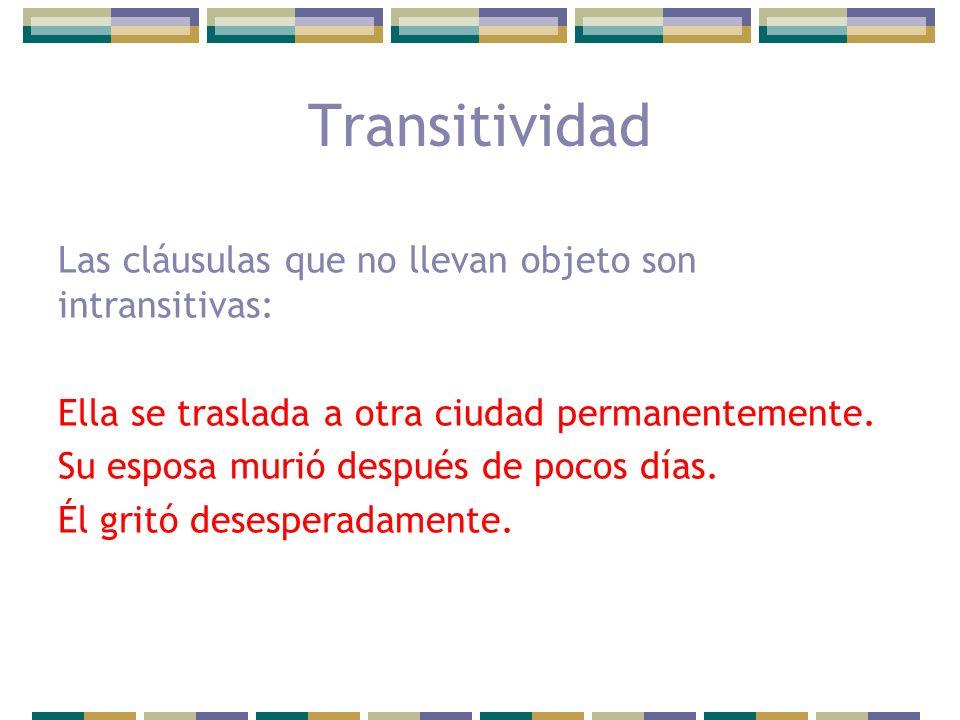 Transitividad Las cláusulas que no llevan objeto son intransitivas: