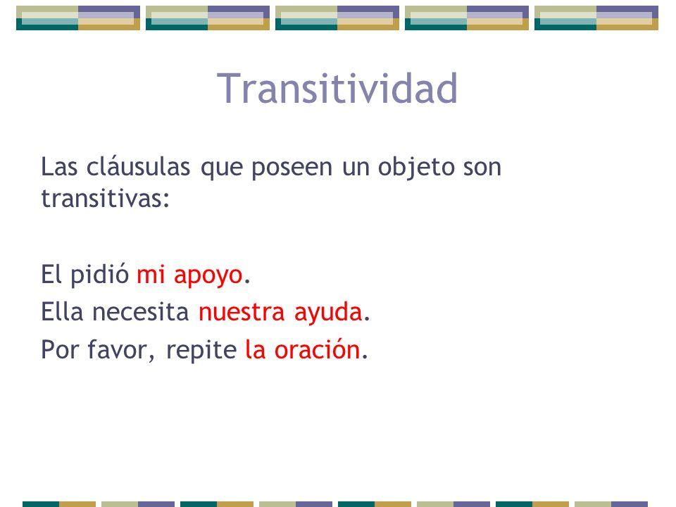 Transitividad Las cláusulas que poseen un objeto son transitivas: