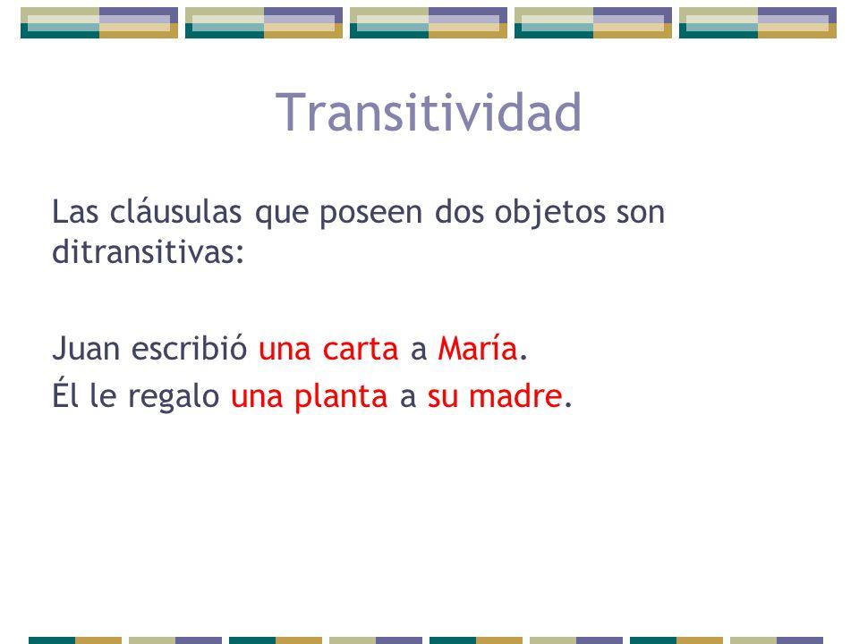 Transitividad Las cláusulas que poseen dos objetos son ditransitivas: