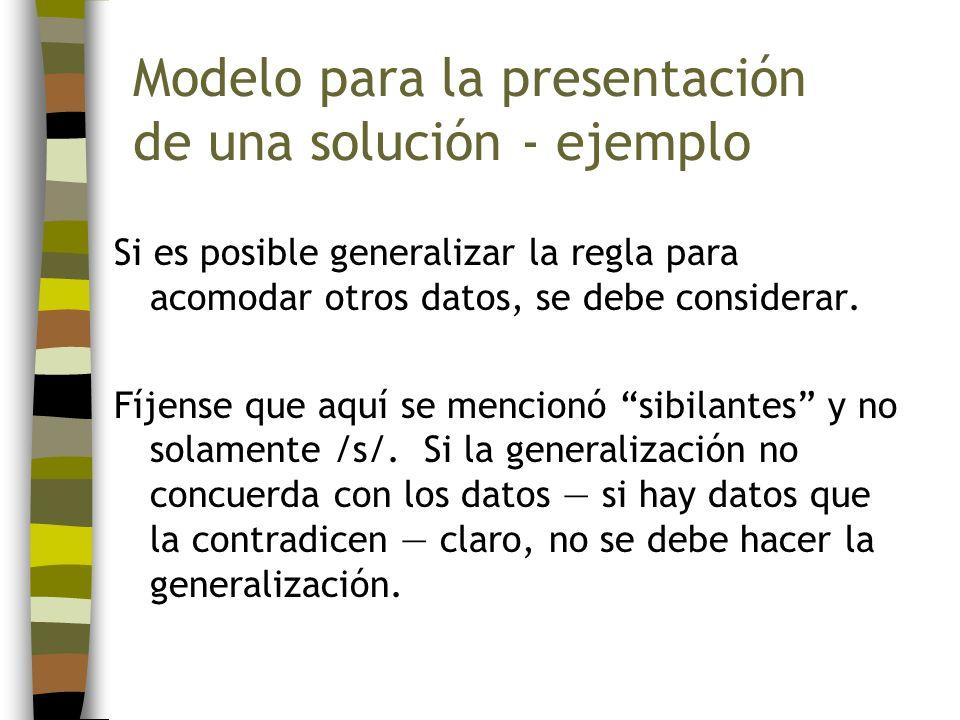 Modelo para la presentación de una solución - ejemplo