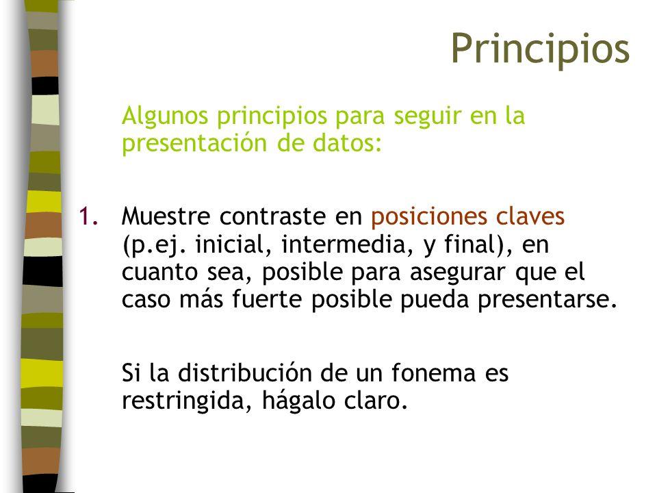 Principios Algunos principios para seguir en la presentación de datos: