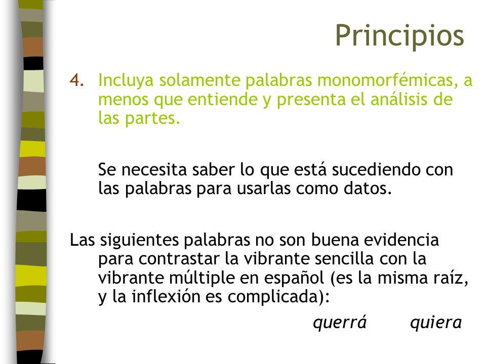 PrincipiosIncluya solamente palabras monomorfémicas, a menos que entiende y presenta el análisis de las partes.