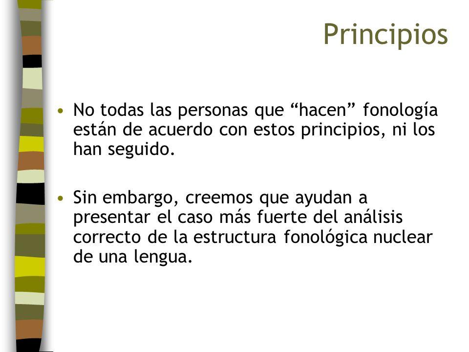 PrincipiosNo todas las personas que hacen fonología están de acuerdo con estos principios, ni los han seguido.