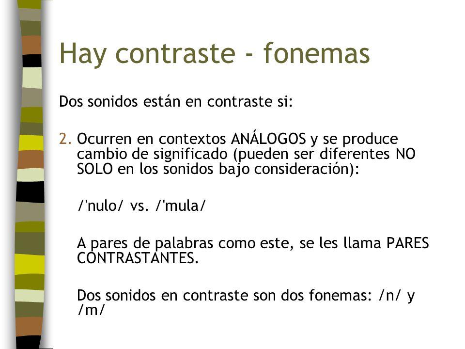 Hay contraste - fonemas