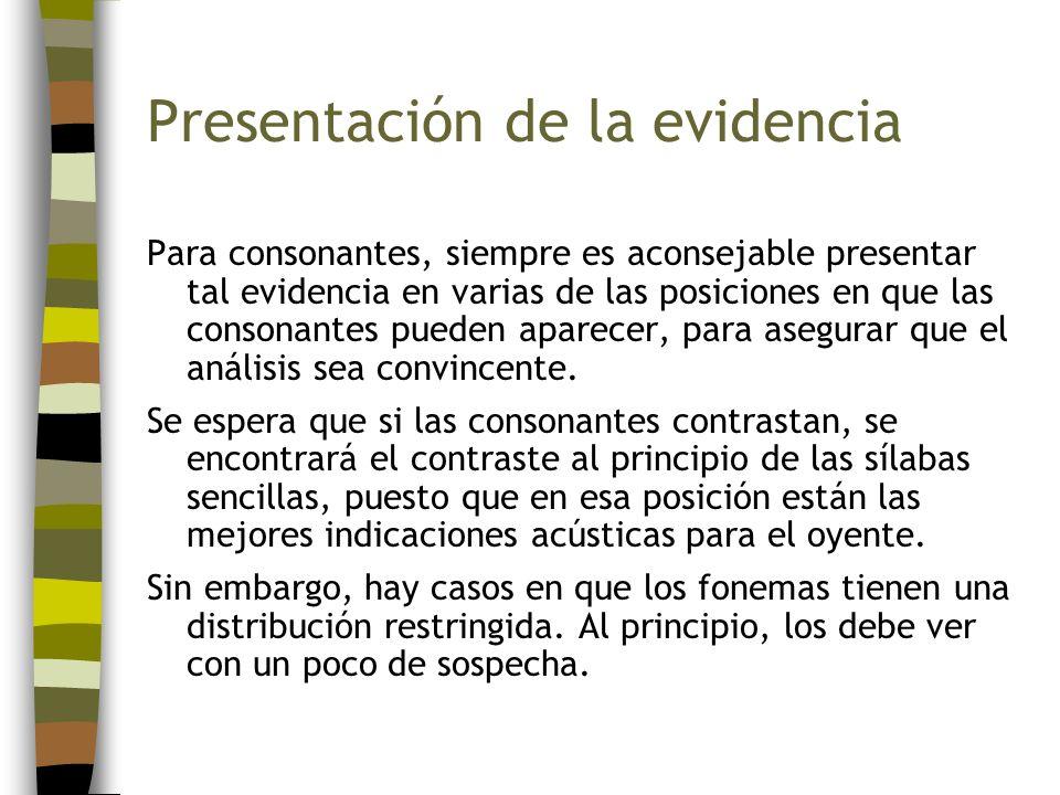 Presentación de la evidencia