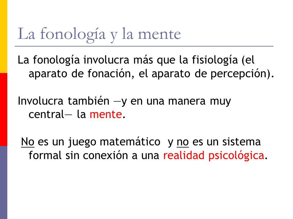 La fonología y la menteLa fonología involucra más que la fisiología (el aparato de fonación, el aparato de percepción).