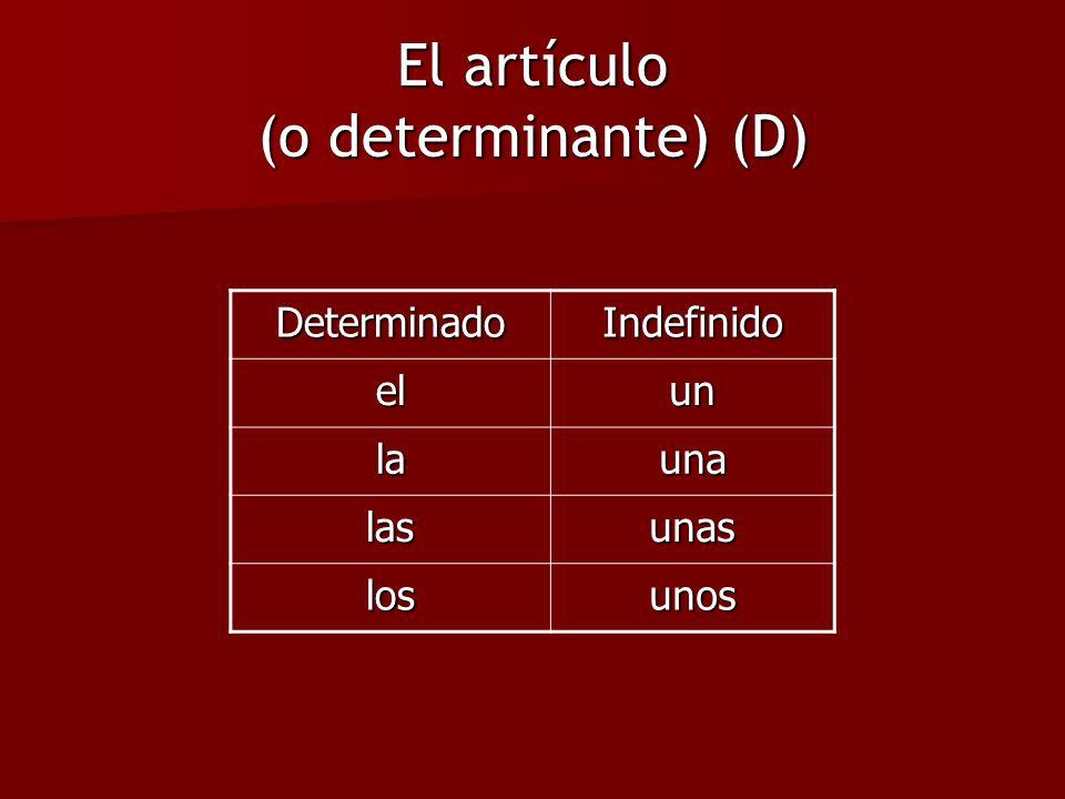 El artículo (o determinante) (D)