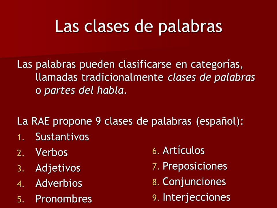 Las clases de palabras Las palabras pueden clasificarse en categorías, llamadas tradicionalmente clases de palabras o partes del habla.