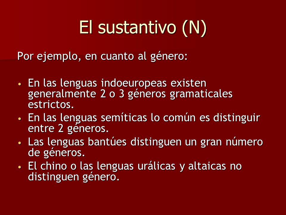 El sustantivo (N) Por ejemplo, en cuanto al género: