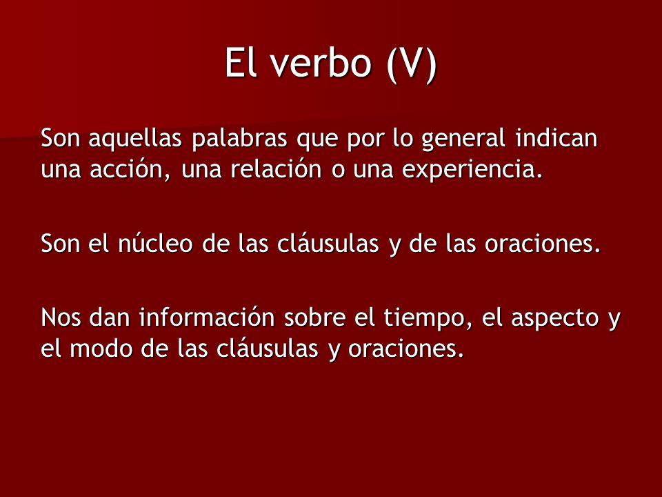 El verbo (V) Son aquellas palabras que por lo general indican una acción, una relación o una experiencia.