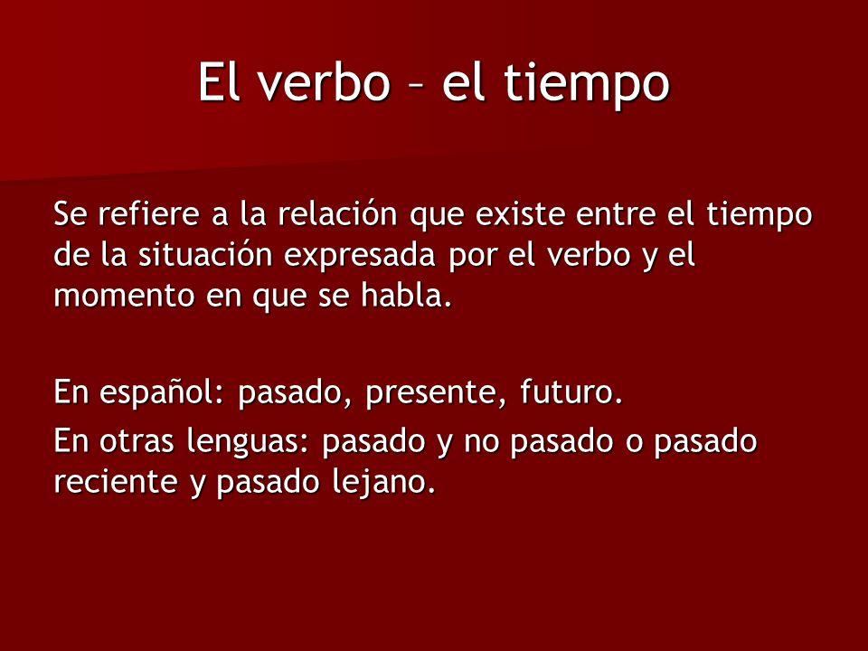 El verbo – el tiempo Se refiere a la relación que existe entre el tiempo de la situación expresada por el verbo y el momento en que se habla.