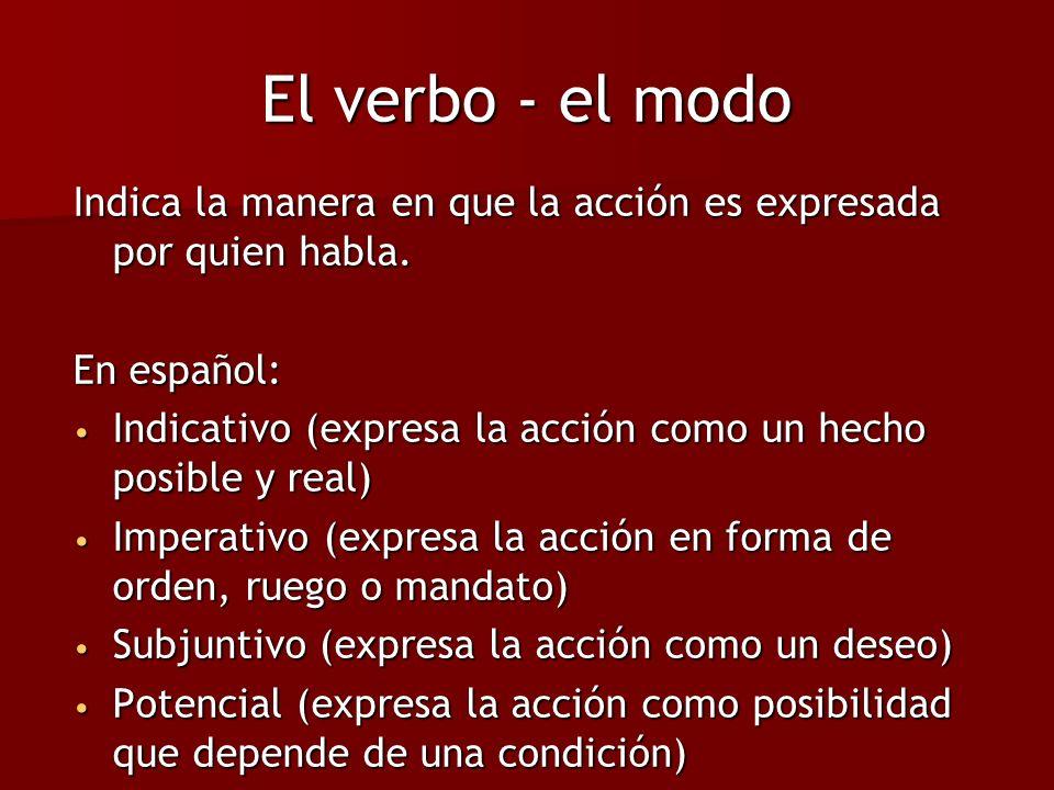 El verbo - el modo Indica la manera en que la acción es expresada por quien habla. En español: