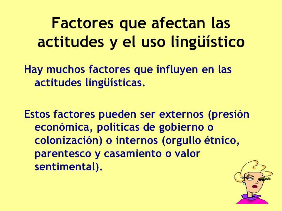 Factores que afectan las actitudes y el uso lingüístico